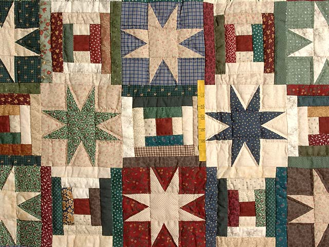 Dark Blue and Multicolor Court Steps Stars Quilt Photo 4