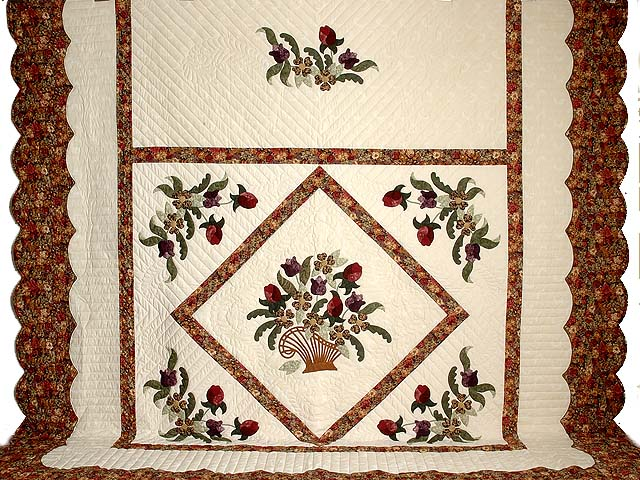 King Rose Plum and Gold Victorian Basket Quilt Photo 2