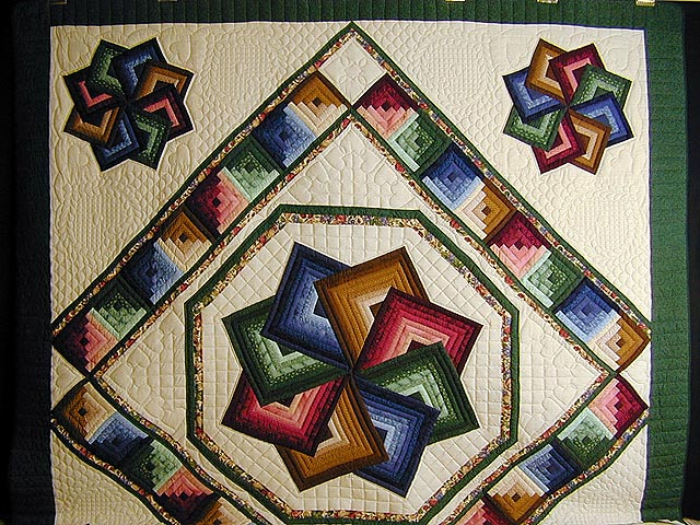 Green and Multicolor Star Spin Quilt Photo 2