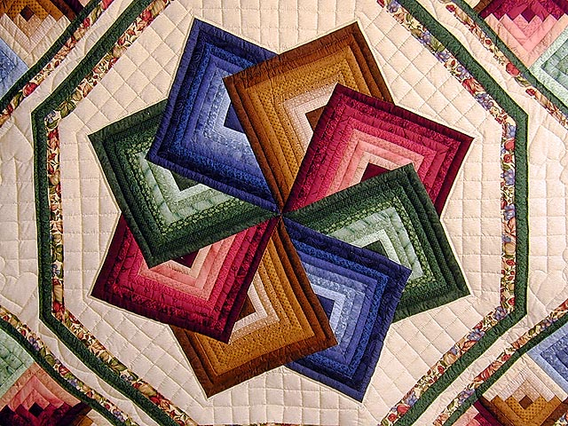 Green And Multicolor Star Spin Quilt Photo 3