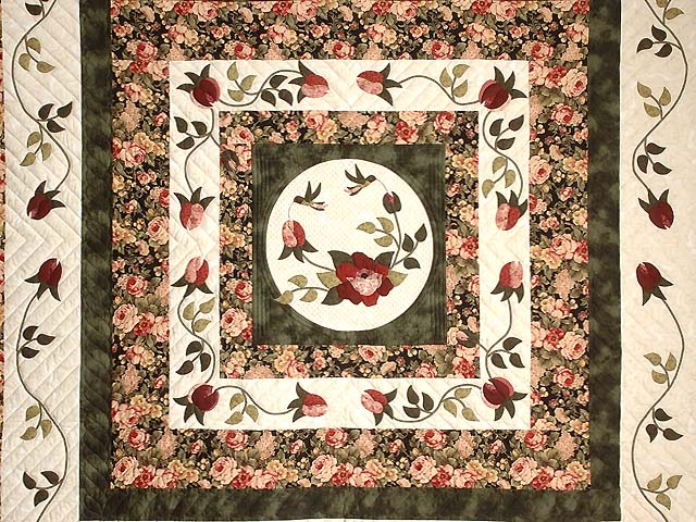 Dark Green and Rose I Promised You a Rose Garden Quilt Photo 3
