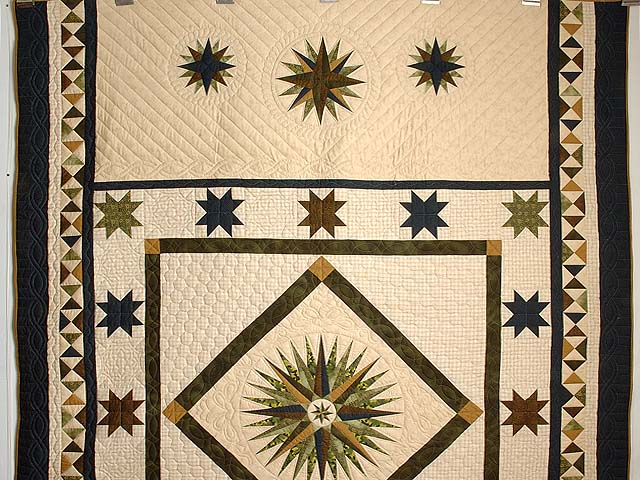 Navy Dark Green Gold and Tan Mariners Compass Quilt Photo 2