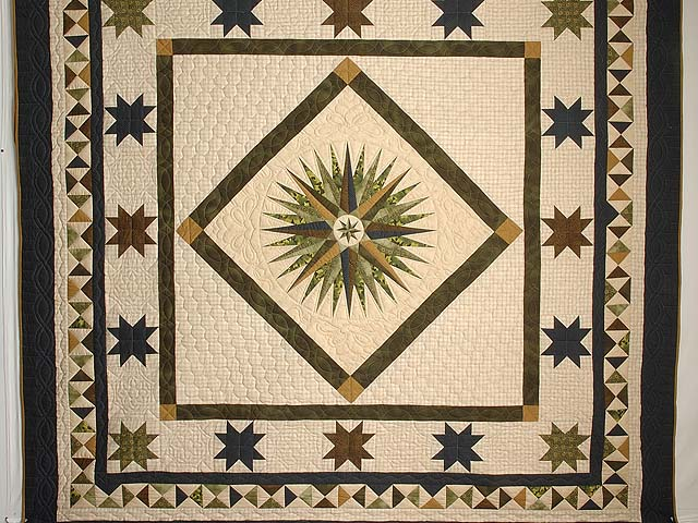 Navy Dark Green Gold and Tan Mariners Compass Quilt Photo 3