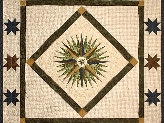 Navy Dark Green Gold and Tan Mariners Compass Quilt Photo 4