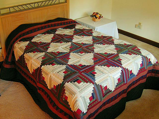King-Size Autumn Log Cabin Quilt Photo 1