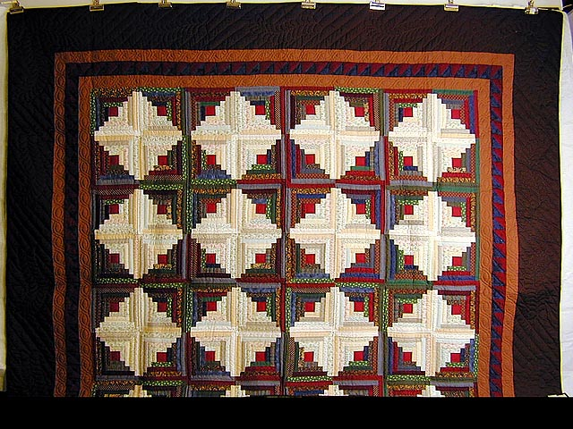 King-Size Autumn Log Cabin Quilt Photo 2