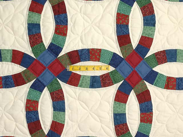 Extra Fine Multicolor Double Wedding Ring Quilt Photo 4