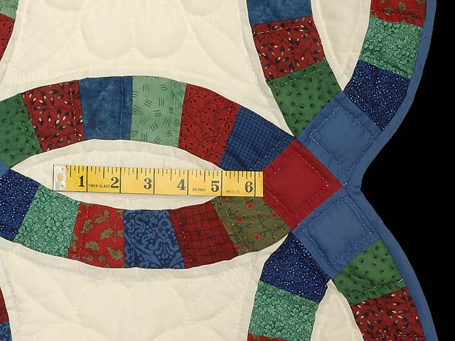 Extra Fine Multicolor Double Wedding Ring Quilt Photo 7