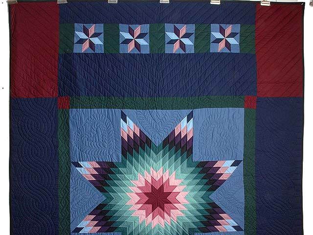 Amish Colonial Colors Lone Star Quilt Photo 2