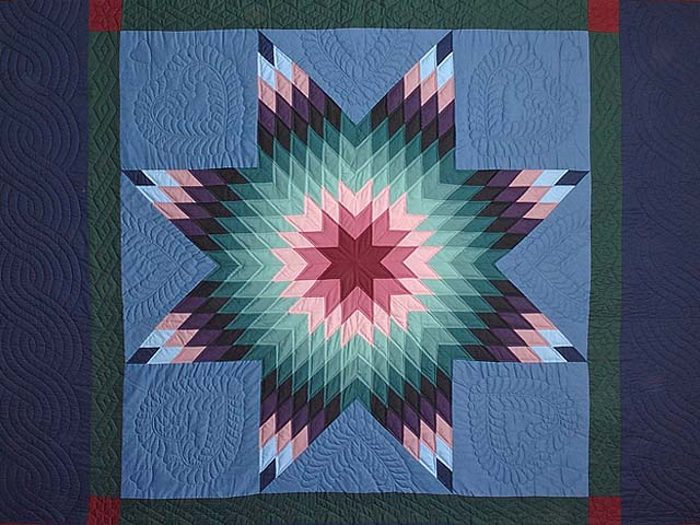 Amish Colonial Colors Lone Star Quilt Photo 3