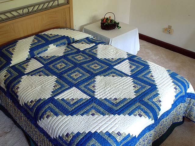 Blue Yellow and Cream Log Cabin Star Quilt Photo 1