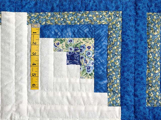 Blue Yellow and Cream Log Cabin Star Quilt Photo 4