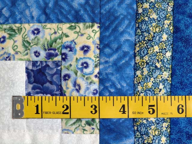Blue Yellow and Cream Log Cabin Star Quilt Photo 5