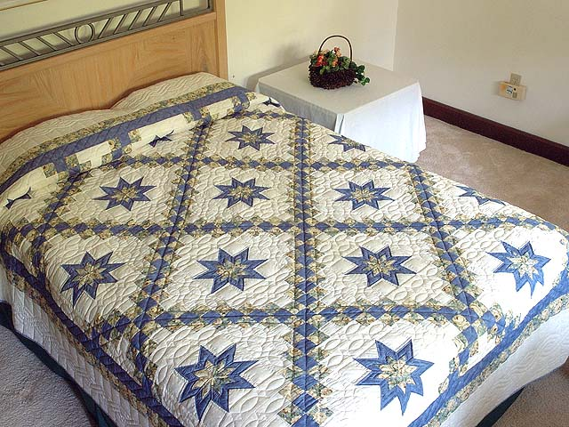 Blue and Pale Yellow Star Irish Chain Quilt Photo 1
