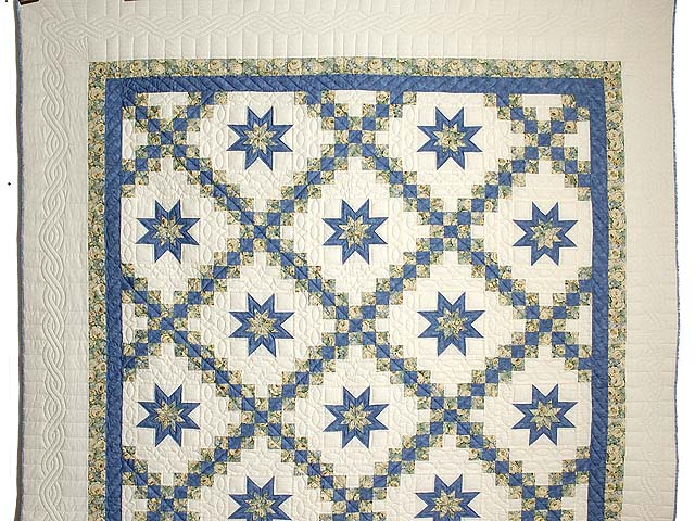 Blue and Pale Yellow Star Irish Chain Quilt Photo 2
