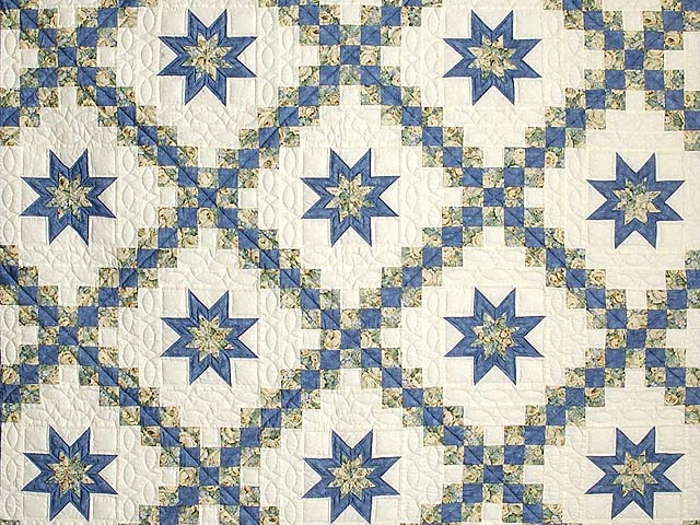 Blue and Pale Yellow Star Irish Chain Quilt Photo 3