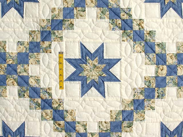 Blue and Pale Yellow Star Irish Chain Quilt Photo 4