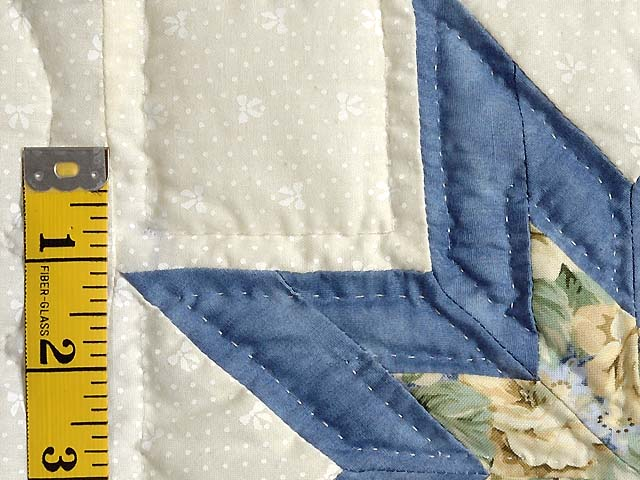 Blue and Pale Yellow Star Irish Chain Quilt Photo 5