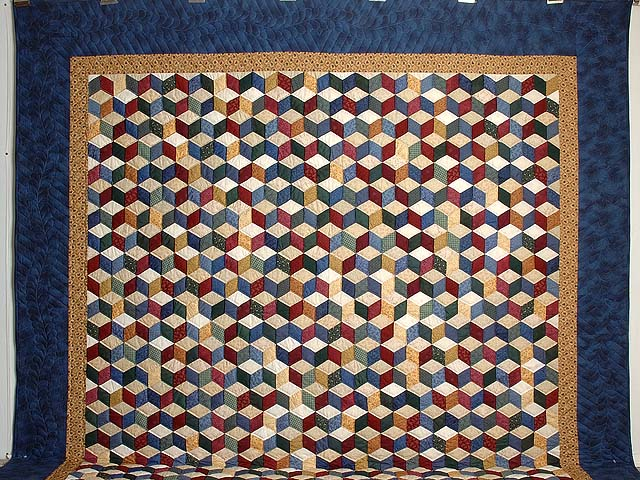 Blue and Multicolor King Tumbling Blocks Quilt Photo 2