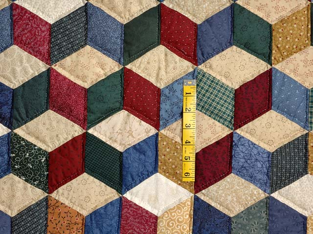 Blue and Multicolor King Tumbling Blocks Quilt Photo 4