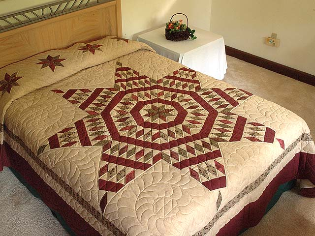 Burgundy Tan and Sage Massachusetts Star Quilt Photo 1