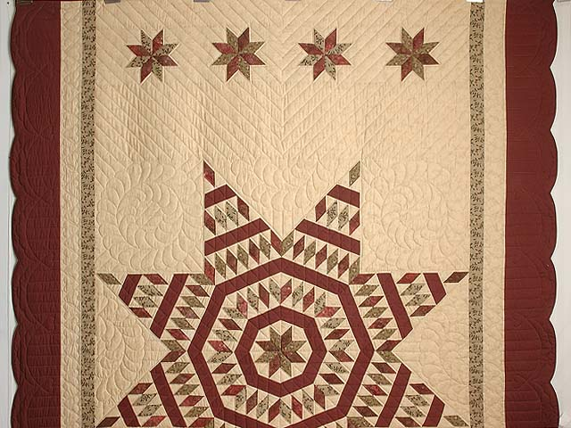 Burgundy Tan and Sage Massachusetts Star Quilt Photo 2