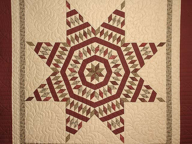 Burgundy Tan and Sage Massachusetts Star Quilt Photo 3