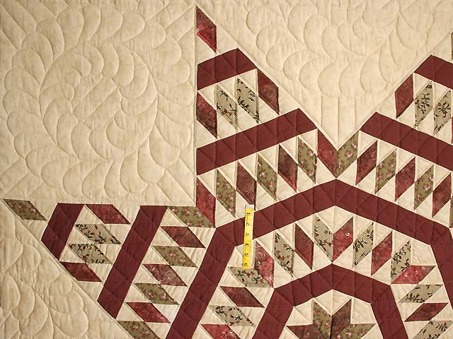Burgundy Tan and Sage Massachusetts Star Quilt Photo 4