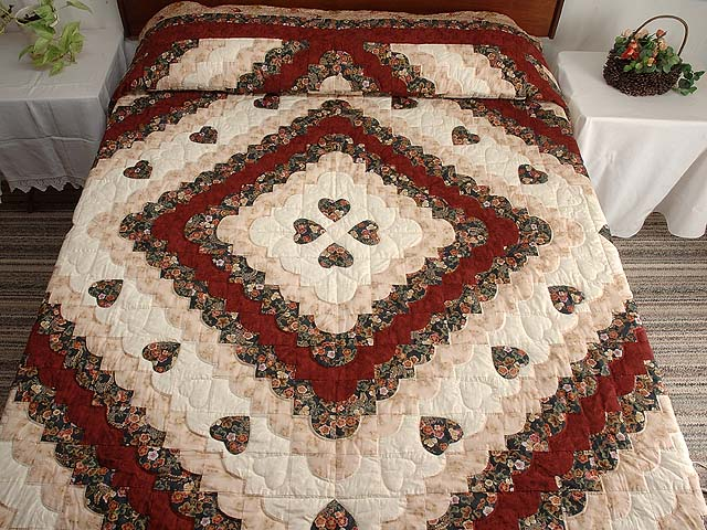 Dark Navy Burgundy and Tan Ocean Wave with Hearts Quilt Photo 1