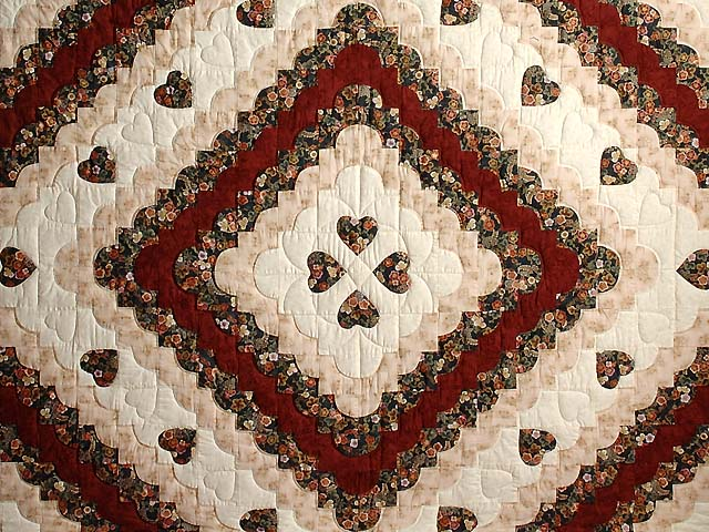 Dark Navy Burgundy and Tan Ocean Wave with Hearts Quilt Photo 3