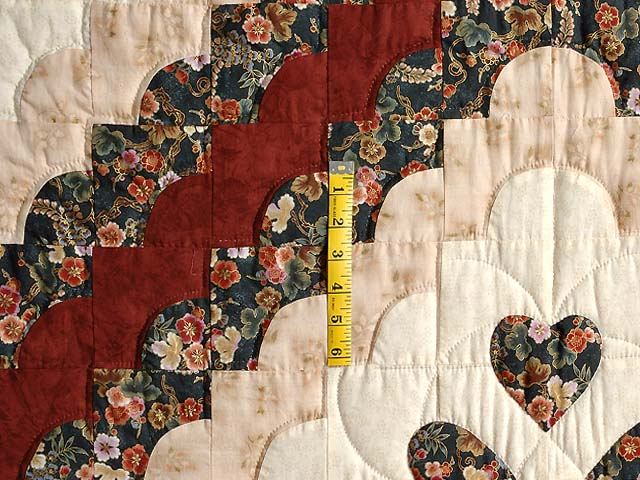 Dark Navy Burgundy and Tan Ocean Wave with Hearts Quilt Photo 4