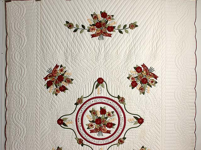 Burgundy and Sage Rose of Sharon Quilt Photo 2