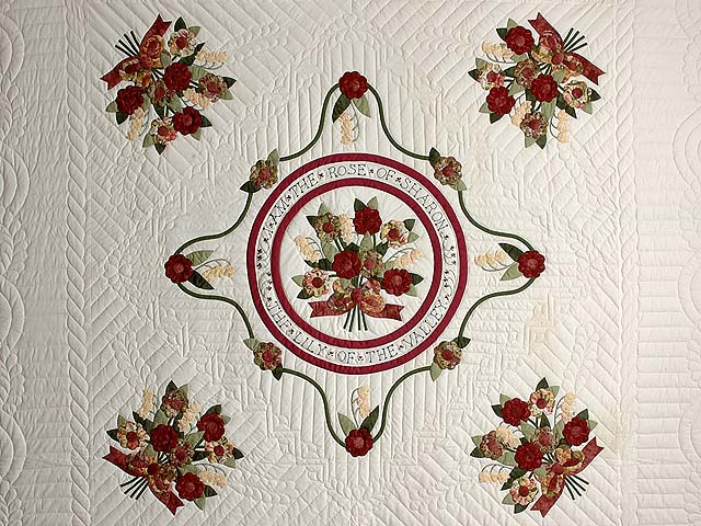 Burgundy and Sage Rose of Sharon Quilt Photo 3
