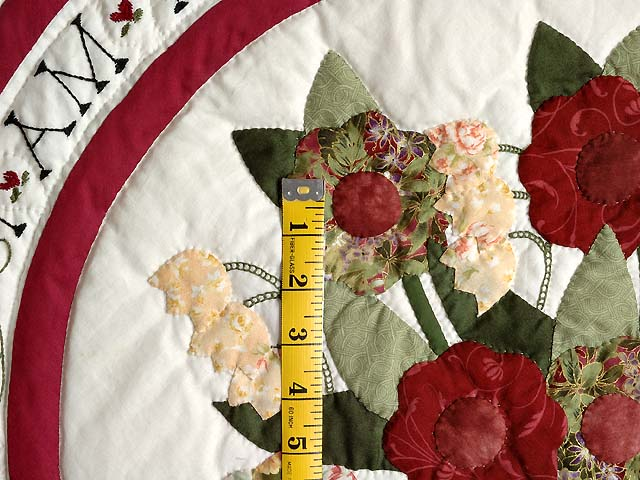 Burgundy and Sage Rose of Sharon Quilt Photo 5