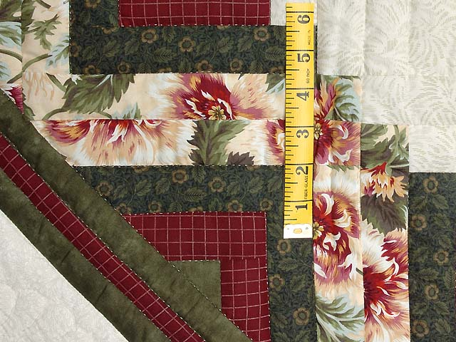 Green and Red Lone Star Log Cabin Quilt Photo 6