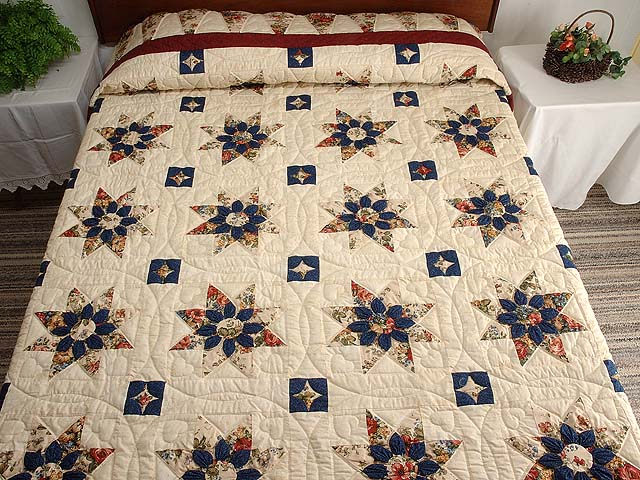 Burgundy Navy and Tan Dahlia Star Quilt Photo 1
