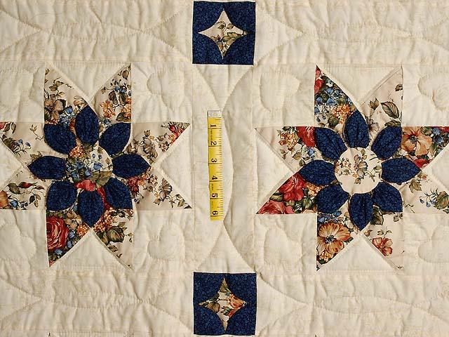 Burgundy Navy and Tan Dahlia Star Quilt Photo 4