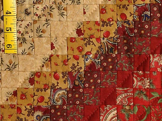 Moss Gold and Red Postage Stamp Color Splash Quilt Photo 6