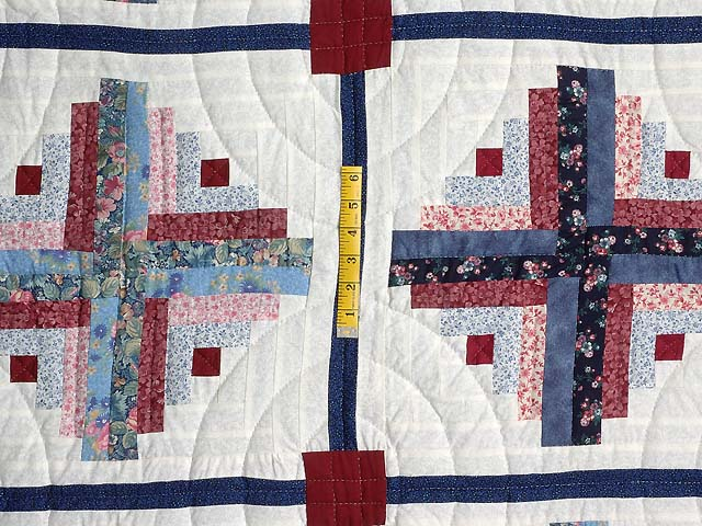 Blue and Burgundy Homespun Log Cabin Quilt Photo 4