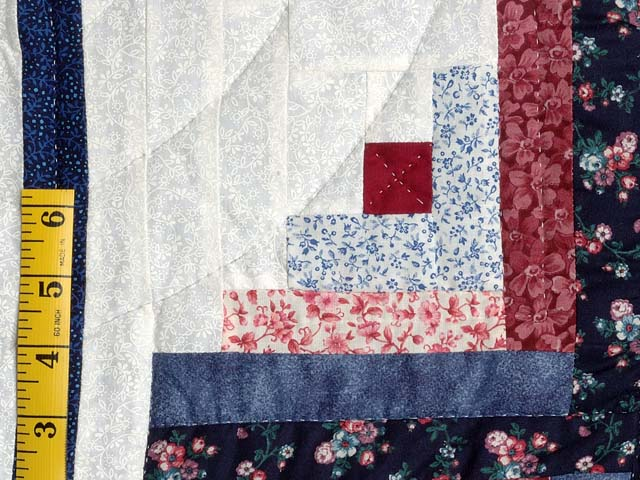 Blue and Burgundy Homespun Log Cabin Quilt Photo 5