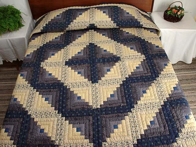 Blue and Tan Log Cabin Quilt Photo 1