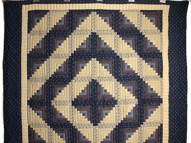 Blue and Tan Log Cabin Quilt Photo 2