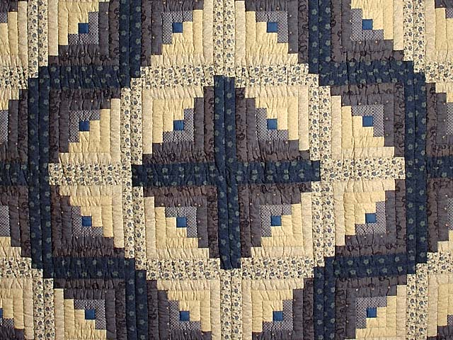 Blue and Tan Log Cabin Quilt Photo 3