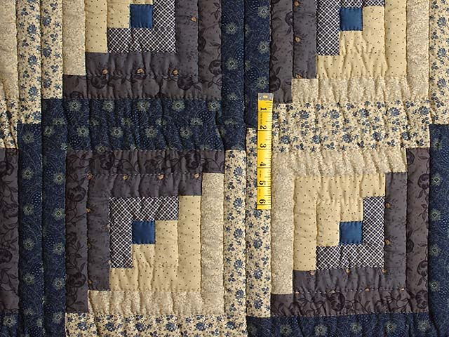 Blue and Tan Log Cabin Quilt Photo 4
