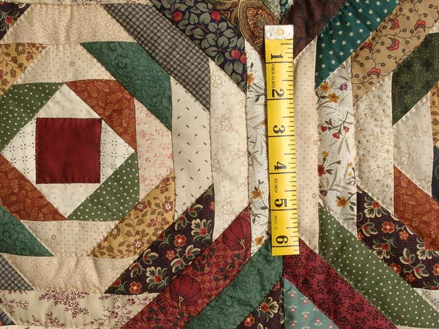 Green Burgundy and Tan Pineapple Quilt Photo 5