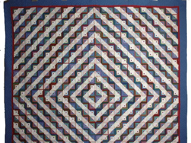 Extra Fine Blue Red and Multi Log Cabin Quilt Photo 2