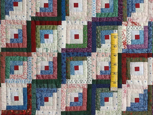 Extra Fine Blue Red and Multi Log Cabin Quilt Photo 4