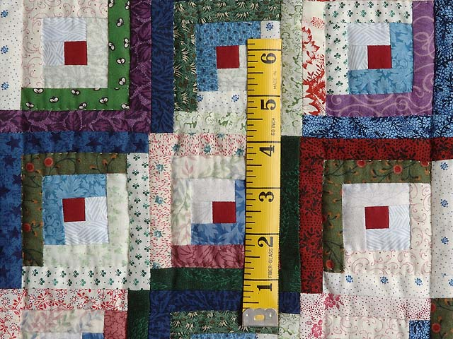Extra Fine Blue Red and Multi Log Cabin Quilt Photo 5