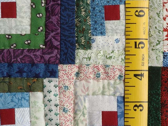 Extra Fine Blue Red and Multi Log Cabin Quilt Photo 6
