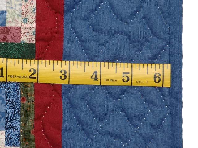 Extra Fine Blue Red and Multi Log Cabin Quilt Photo 7